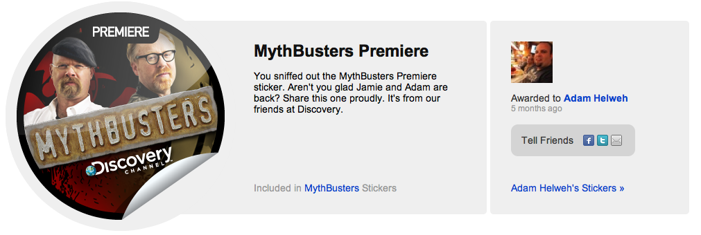 MythBusters Premier Sticker on GetGlue